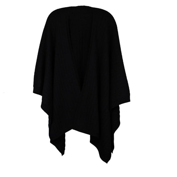 Whitney Wool Black Rib Cape