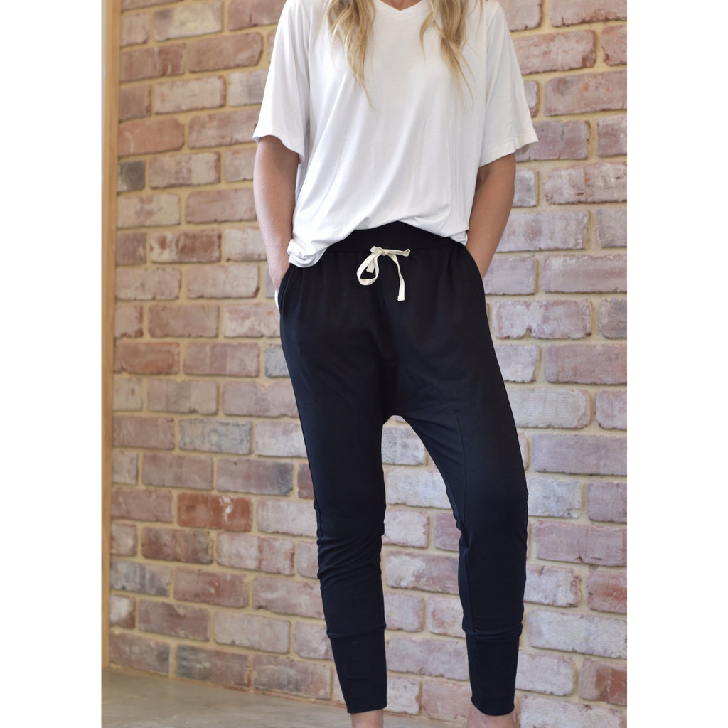 Jersey Joggers - Black Womens Clothing S,M,L,XL Style Laundry