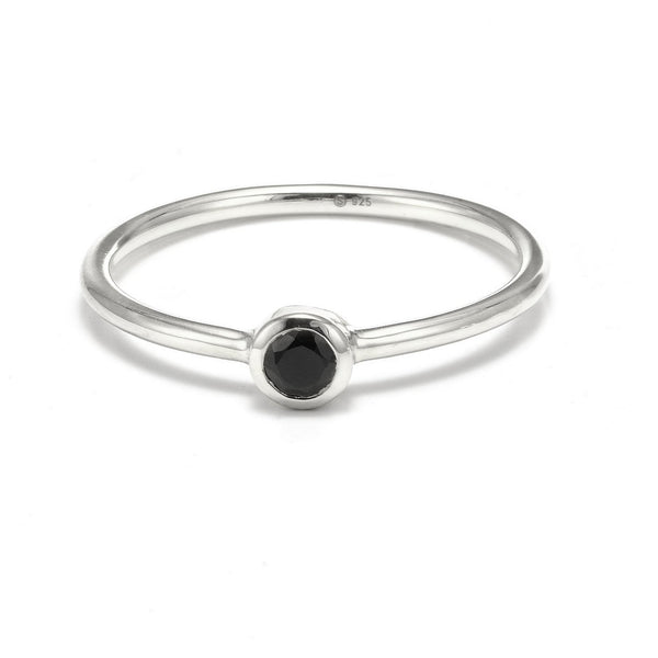 Sterling Silver Pistil Ring - Black Spinel Rings Small,Medium silk & STEEL