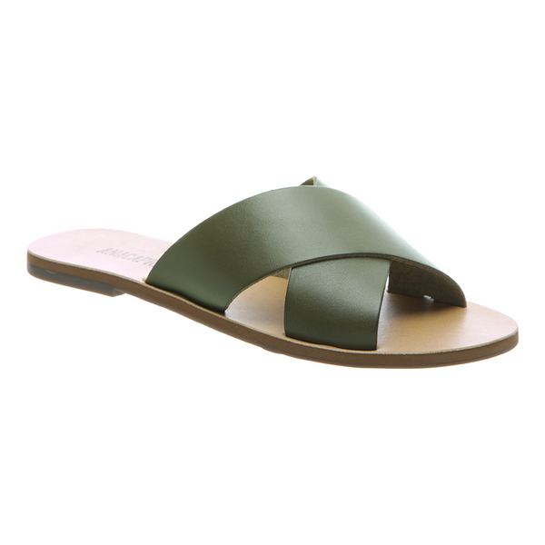 Anacapri Leather Sandal Flat Cross Green