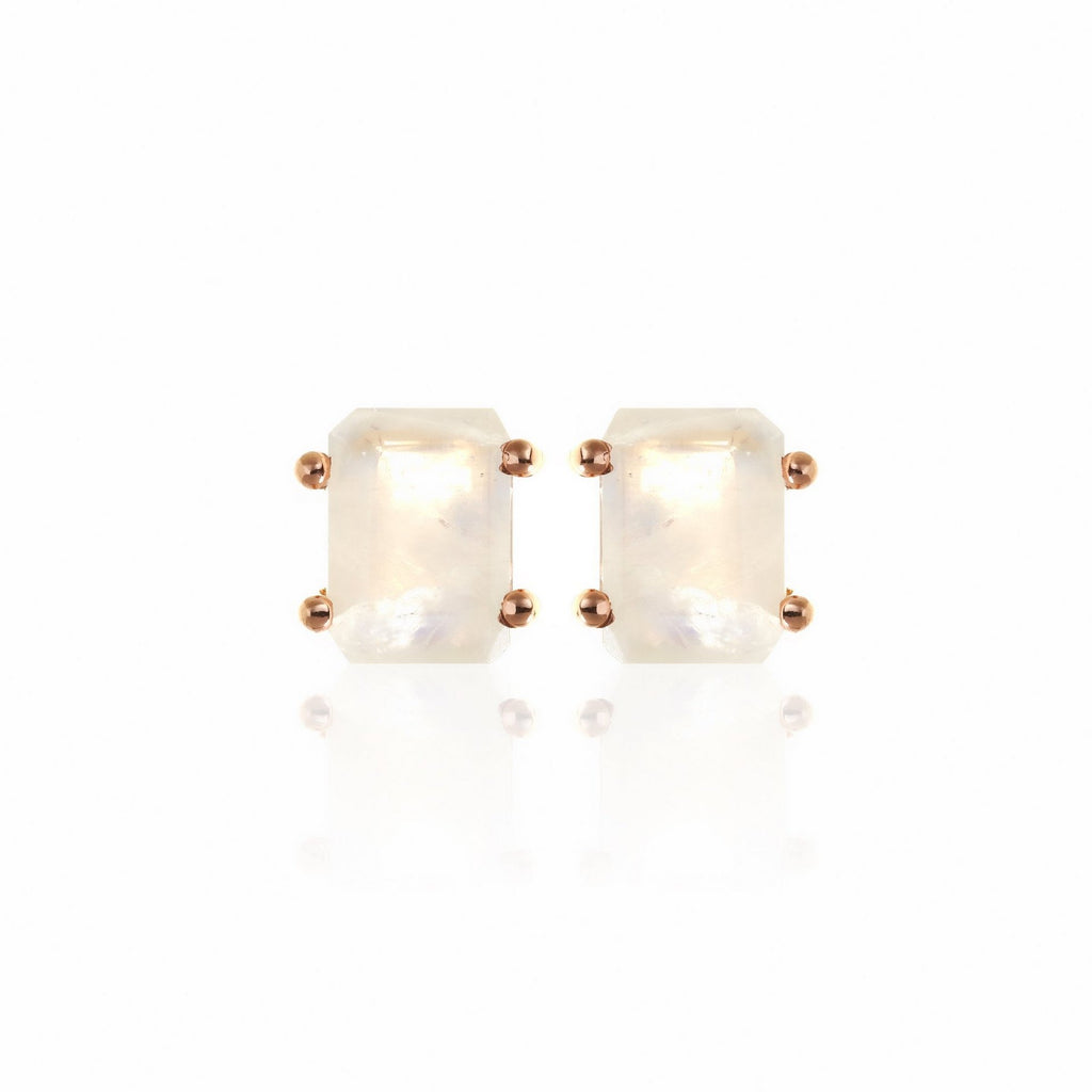 Silk & Steel Prima Donna Earrings - Moonstone Rose Gold