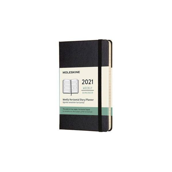 12 Month Weekly Horizontal Hardcover Pocket 2021 Diary - 1 Colour Calendars + Diaries Black Moleskine