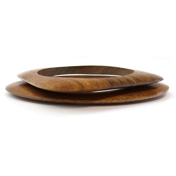 Set of 2 statement brown wooden bangles, Sabrina bangles