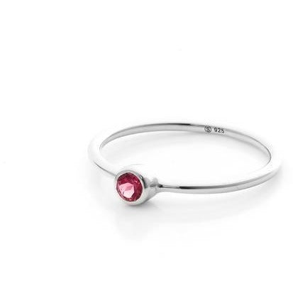 Sterling Silver Pistil Ring - Pink Tourmaline Rings Small,Medium silk & STEEL