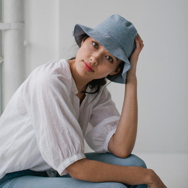 Cotton Bucket Hat - Denim Womens Accessories S/M,L/XL S O P H IE