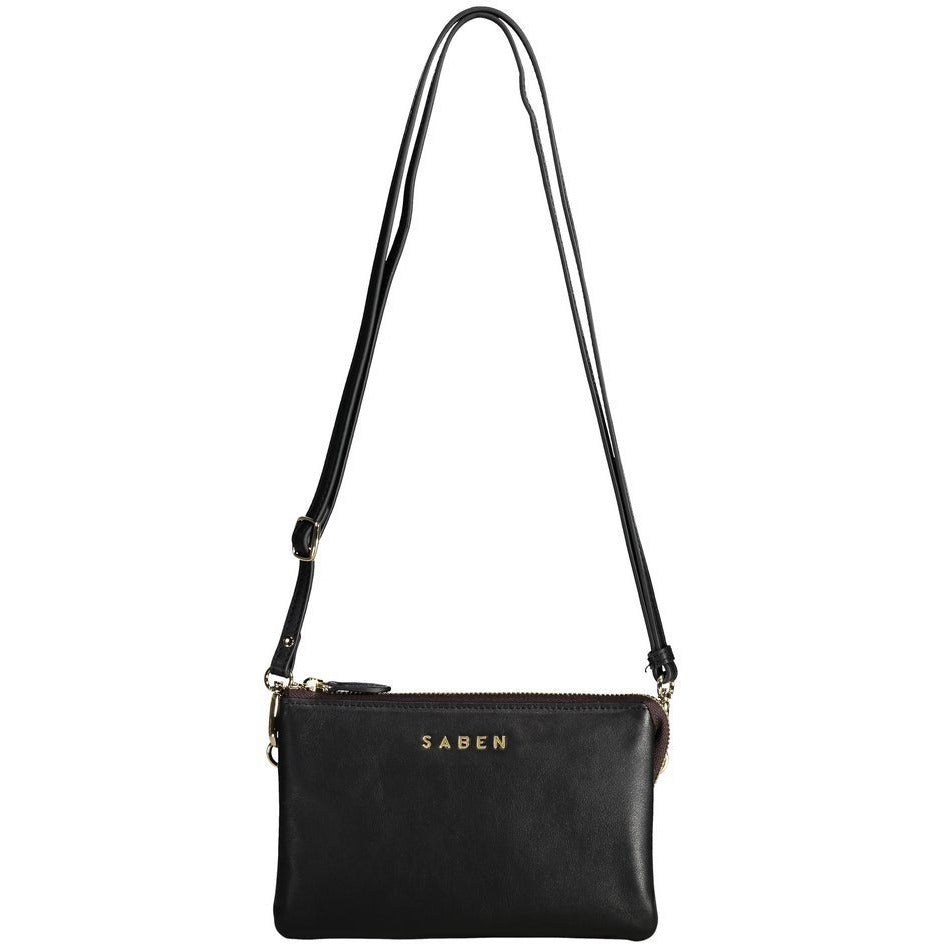 Saben Black leather tilly bag with strap