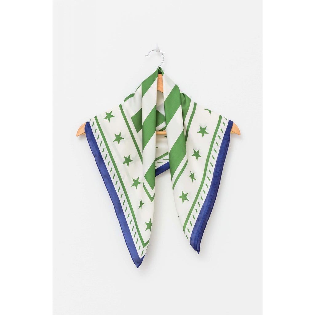 Square Scarf - Green Stars + Stripes Womens Accessories Default Title Stella & Gemma