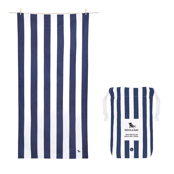 100% Recycled Beach Towel Cabana - Whitsunday Blue - 2 Sizes Beach + Boat + BBQ L,XL Dock & Bay