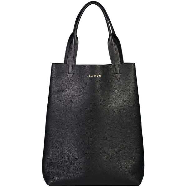Saben Black Juno Leather Tote Bag