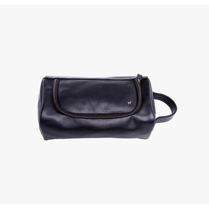 Duffle & Co Ralph Black Leather Toiletry Bag