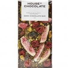 House of Chocolate Dark Chocolate Freeze Dried Figs, Cherry & Pistachio Dark Chocolate Bar