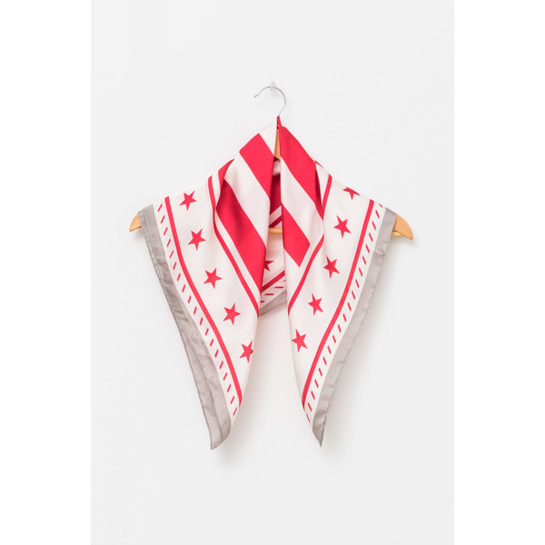 Square Scarf - Red Grey Stars + Stripes Womens Accessories Default Title Stella & Gemma