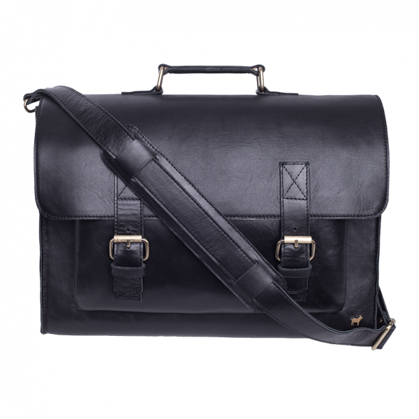 Duffle & Co Black Leather Daniel Satchel