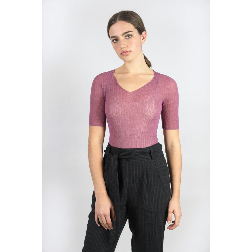 Cotton Tulle V Tee - Cosmos Womens Clothing 1,2 Standard Issue
