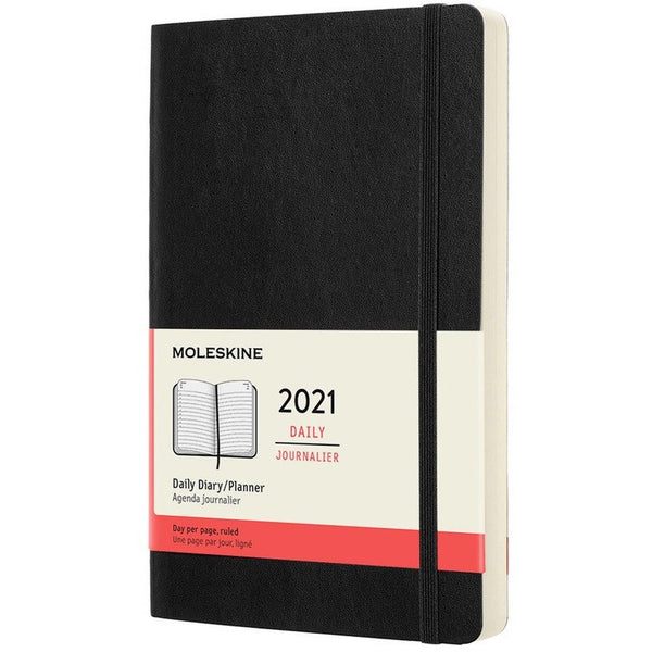 12 Month Softcover Daily 2021 Diary - 2 Colours Calendars + Diaries Black Moleskine
