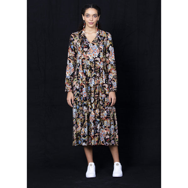 Rosie Dress - Black Floral Womens Clothing 8,10,12,14 Dalston