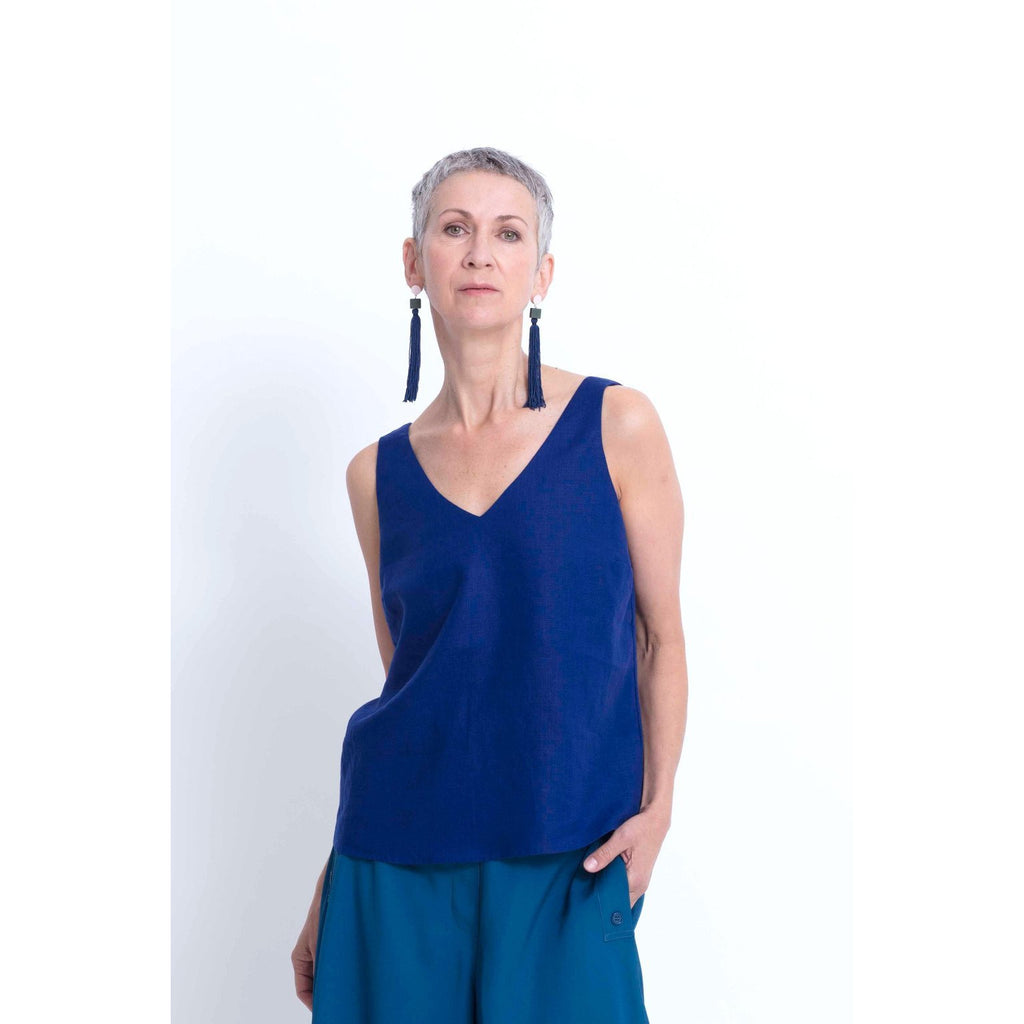 Hallvi V Neck Tank Top - Cobalt Womens Clothing 6,8,10,12 Elk
