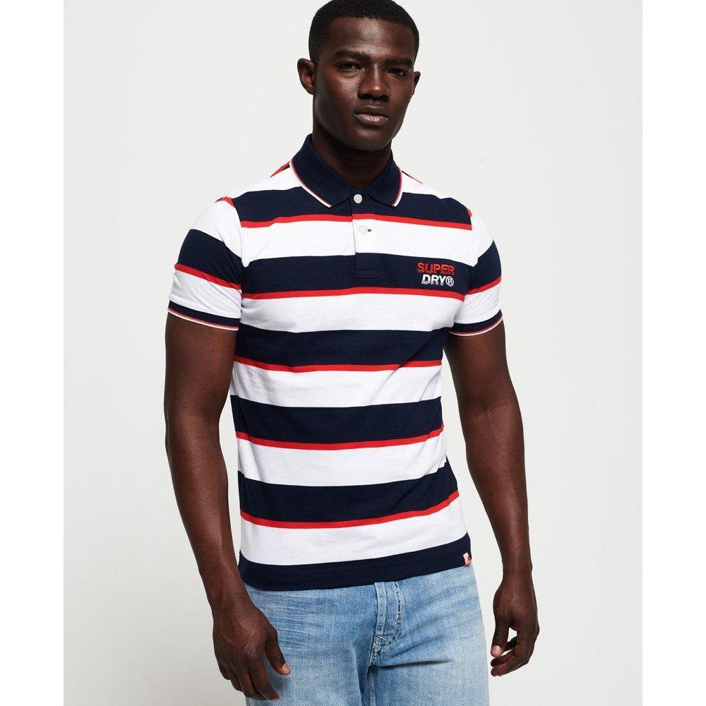 Superdry Skate Lux Polo Shirt - Optic White Stripe
