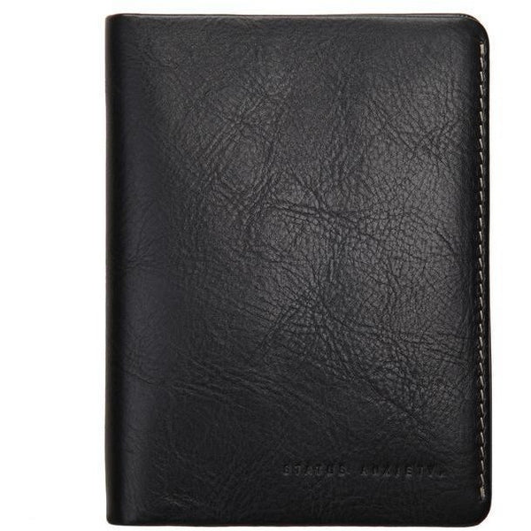 Status Anxiety Leather Passport Wallet Conquest Black