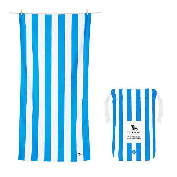 100% Recycled Beach Towel Cabana  - Bondi Blue - 2 Sizes Beach + Boat + BBQ L,XL Dock & Bay