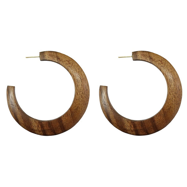 Shayla Brown wooden hoop earrings