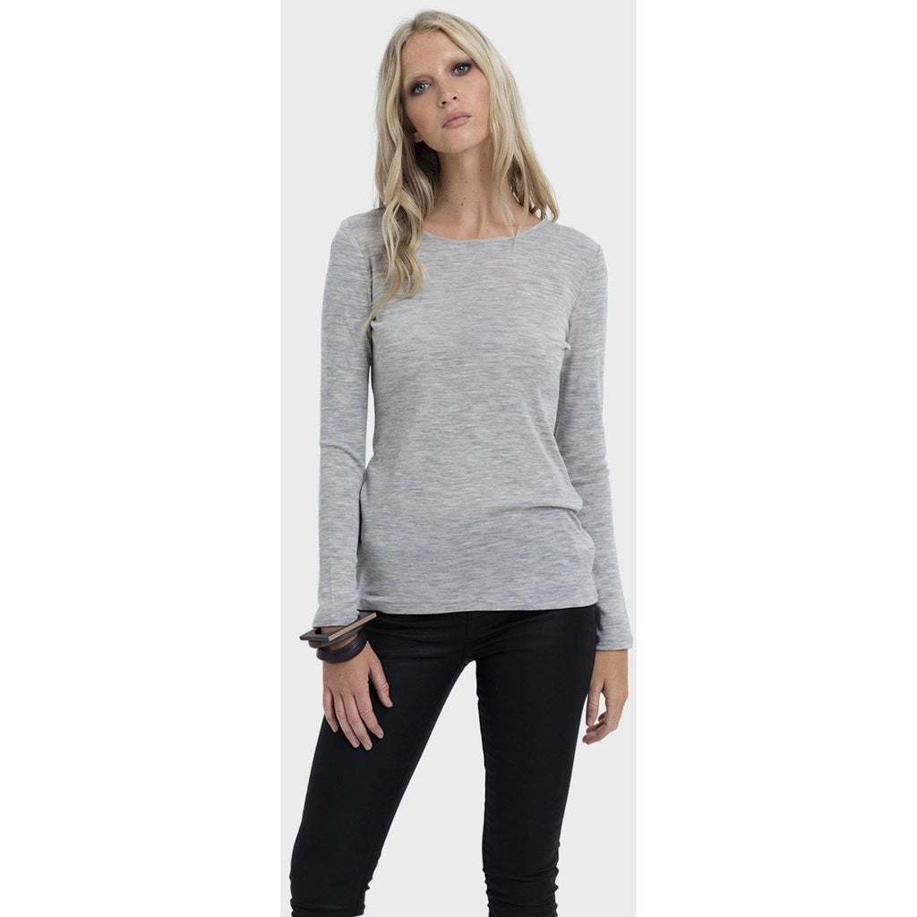 Elk Long Sleeve Merino Top Grey
