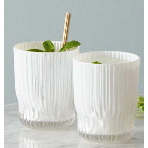 Nel Lusso Milano Tumblers Set of 4, Glass Tumblers, Set of 4, White Glass Tumblers and Carafe