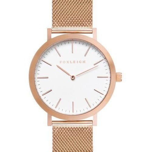 Foxleigh Rose Gold Mesh Timepiece Watch