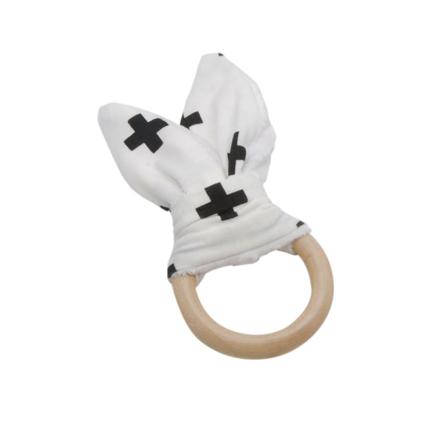 Twigg NZ Wooden Teething Ring with fabric bunny ears
