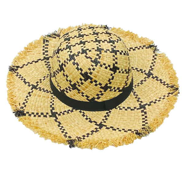 Raffia Hat - Black + Natural Womens Accessories Black + Natural Head Start