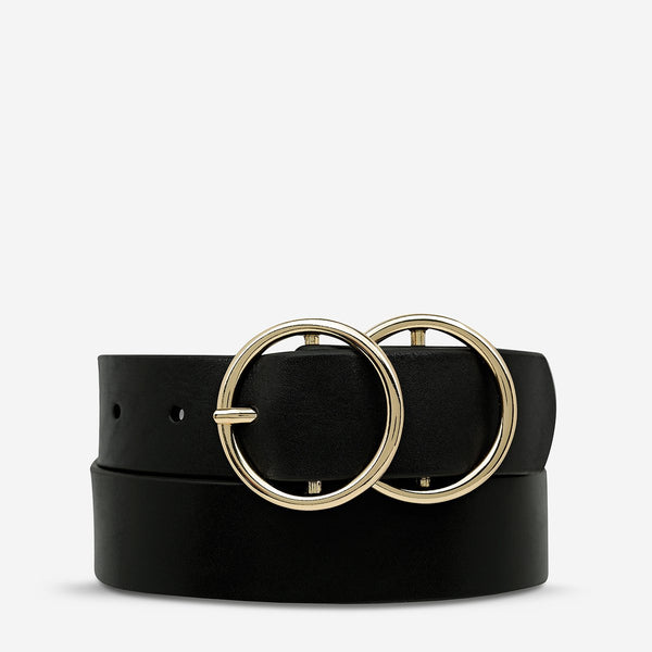 Mislaid Belt - Black with Gold - 2 Sizes Womens Accessories Small/Medium,Medium/Large Status Anxiety