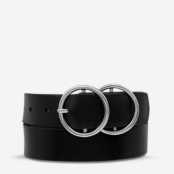 Mislaid Belt - Black with Silver - 2 Sizes Womens Accessories Small/Medium,Medium/Large Status Anxiety