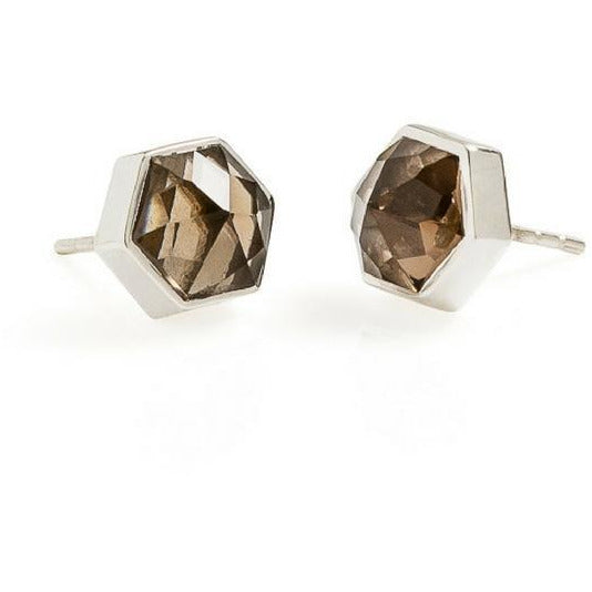 Six Reasons Smokey Quartz Stud Earrings - 2 Colours Earrings Silver Cathy Pope