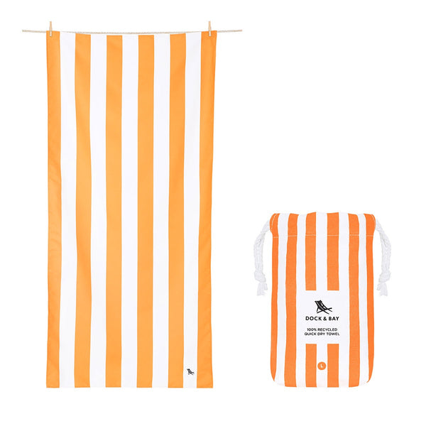 100% Recycled Beach Towel Cabana - Ipanema Orange - 2 Sizes Beach + Boat + BBQ L,XL Dock & Bay