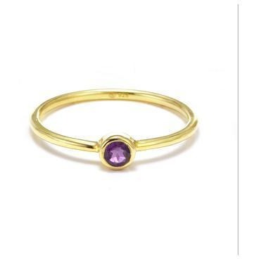 Silk & Steel Gold Plated Pistil Ring - Amethyst
