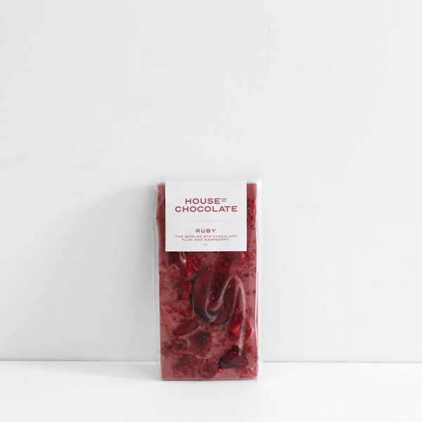 House of Chocolate World's 4th Chocolate 'RUBY' Freeze Dried Plum and Raspberry Bar NZ Made