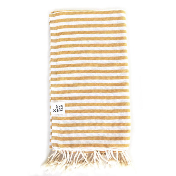 St Tropez Turkish Towel - Mustard Beach + Boat + BBQ Default Title Izzy And Jean