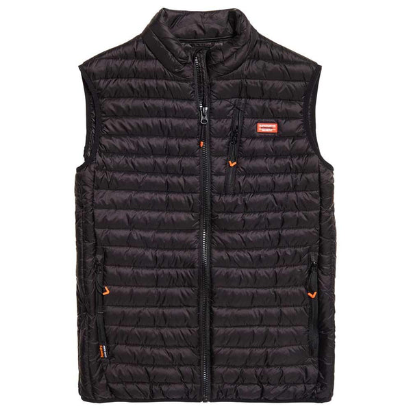 Superdry Black Core Down Gilet, Black Sleeveless Puffer Jacket