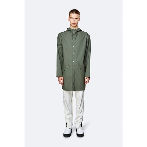 Rains Long Jacket - Olive Womens Clothing XXS/XS,XS/S,S/M,M/L,L/XL Rains
