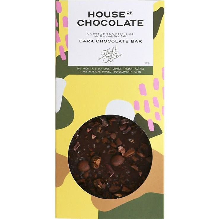 House of CHocolate Crushed Coffee, Cacao & Marlborough Sea Salt Bar, Chocolate Bar, NZ Made, New Zealand Made, Hand made
