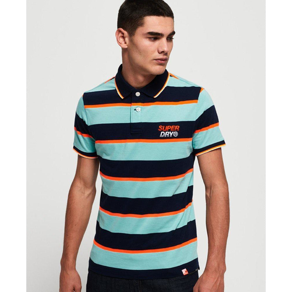 Superdry Skate Lux Polo Shirt  - Glass Green Stripe