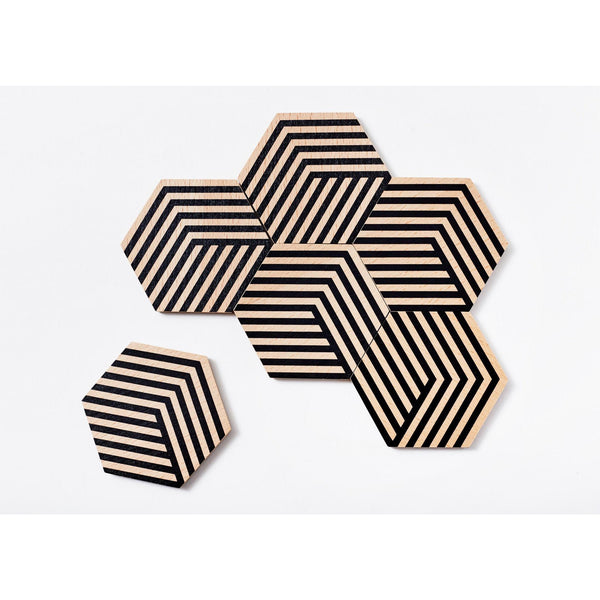 Optical Black Table Tile Coasters