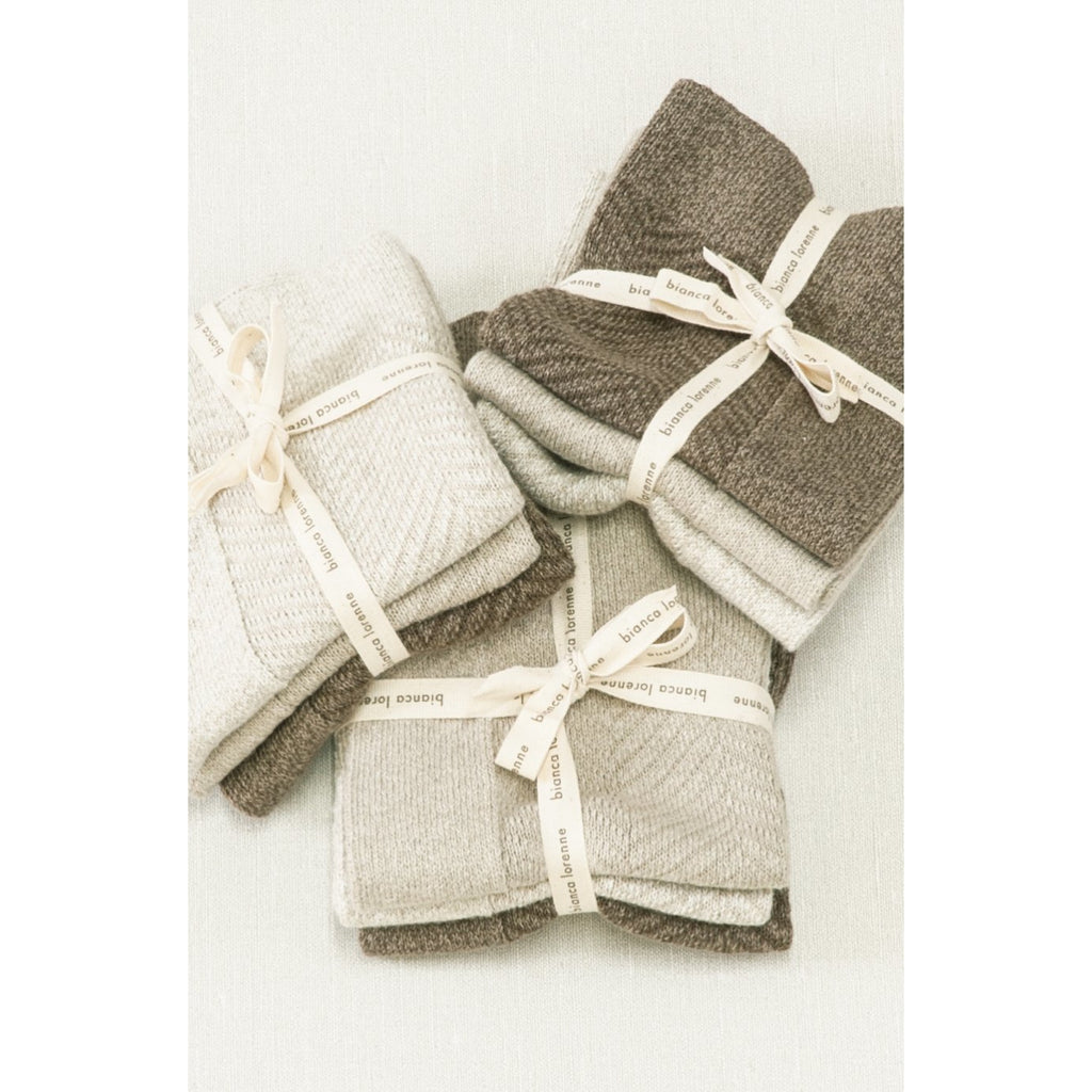 Knitted Cotton Wash Cloths Bianca Lorenne Oatmeal Chevron