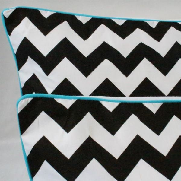 Black Chevron Piped Pillowcases