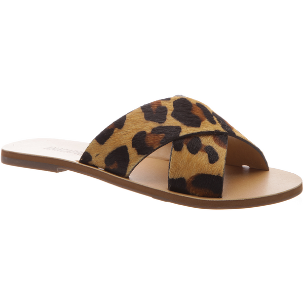 Anacapri Leather Sandal Flat Cross Animal Print