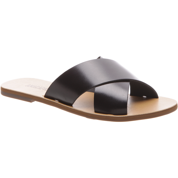 Anacapri Leather Sandal Flat Cross Black