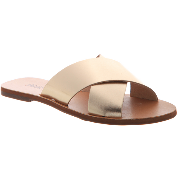 Anacapri Leather Sandal Flat Cross Light Gold
