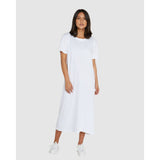 Boxy T Dress - White Womens Clothing 0/XS,1/S,2/M,3/L,4/XL Cloth & Co