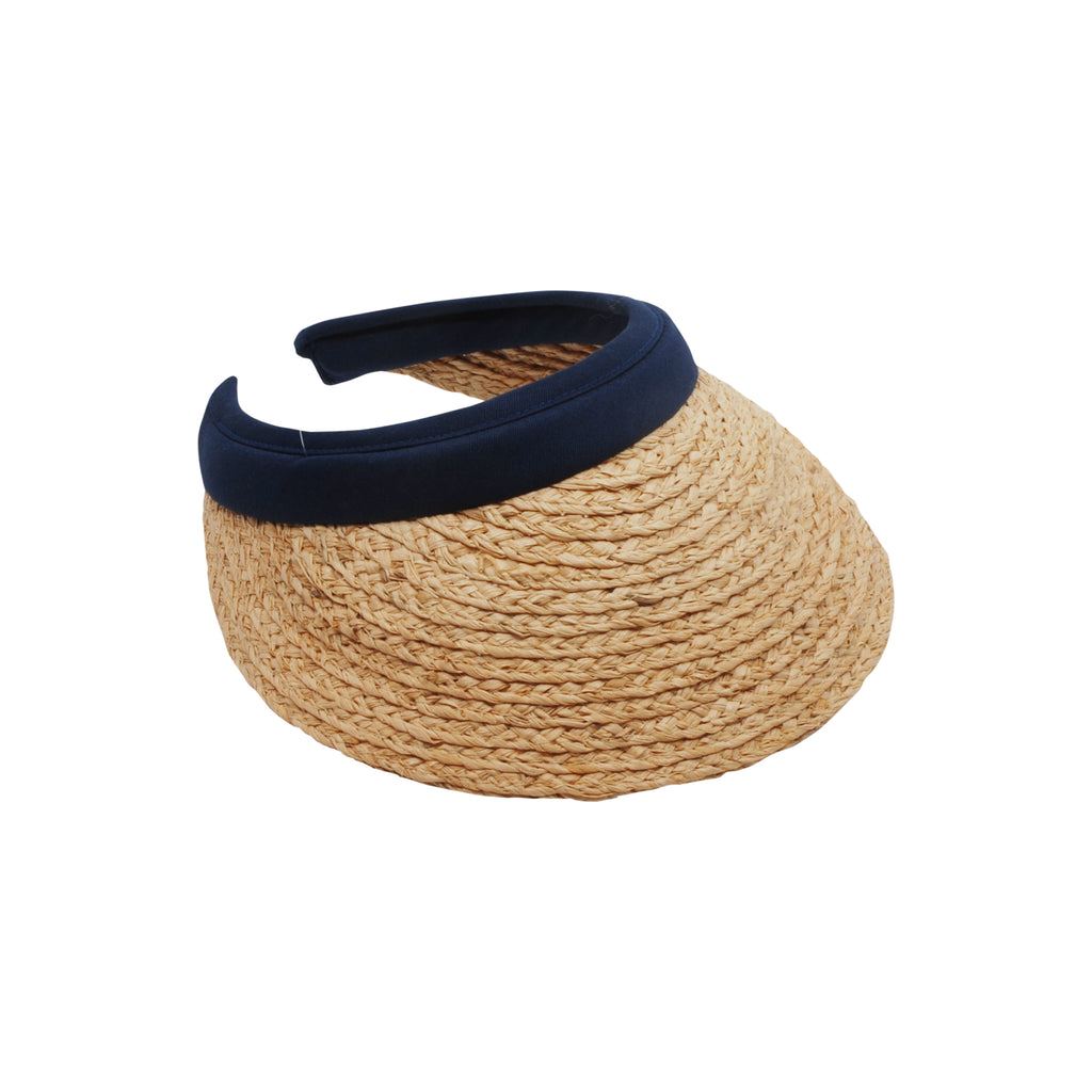 Raffia Straw Visor Hat Navy, Natural Raffia Visor with Navy Band