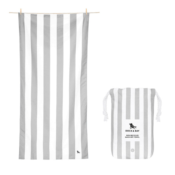 100% Recycled Beach Towel Cabana Light Collection - Goa Grey - 2 Sizes Beach + Boat + BBQ L,XL Dock & Bay